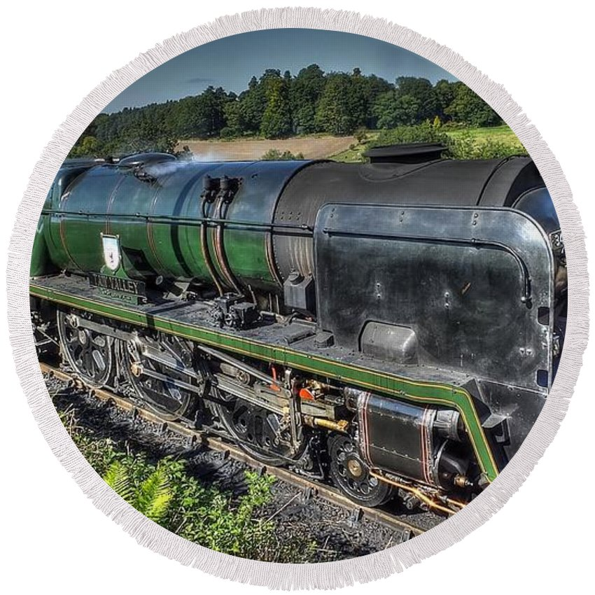 Taw Valley Round Beach Towel featuring the photograph Steam Locomotive 34027 The Taw Valley by Catchavista