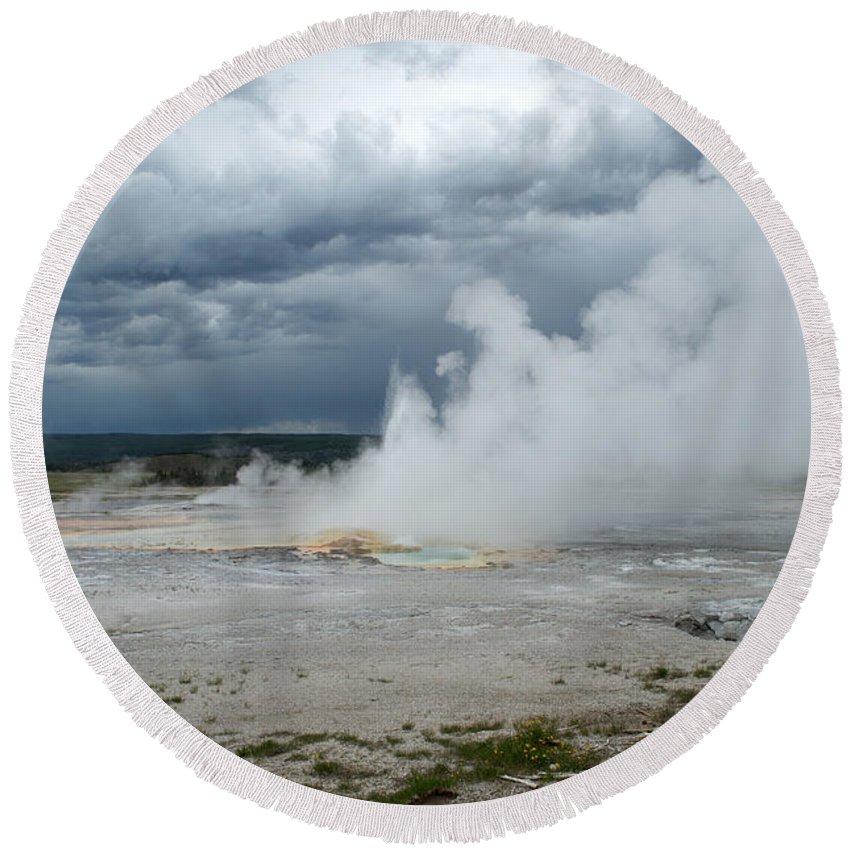 Geyser Round Beach Towel featuring the photograph Steam Rising by Linda Kerkau