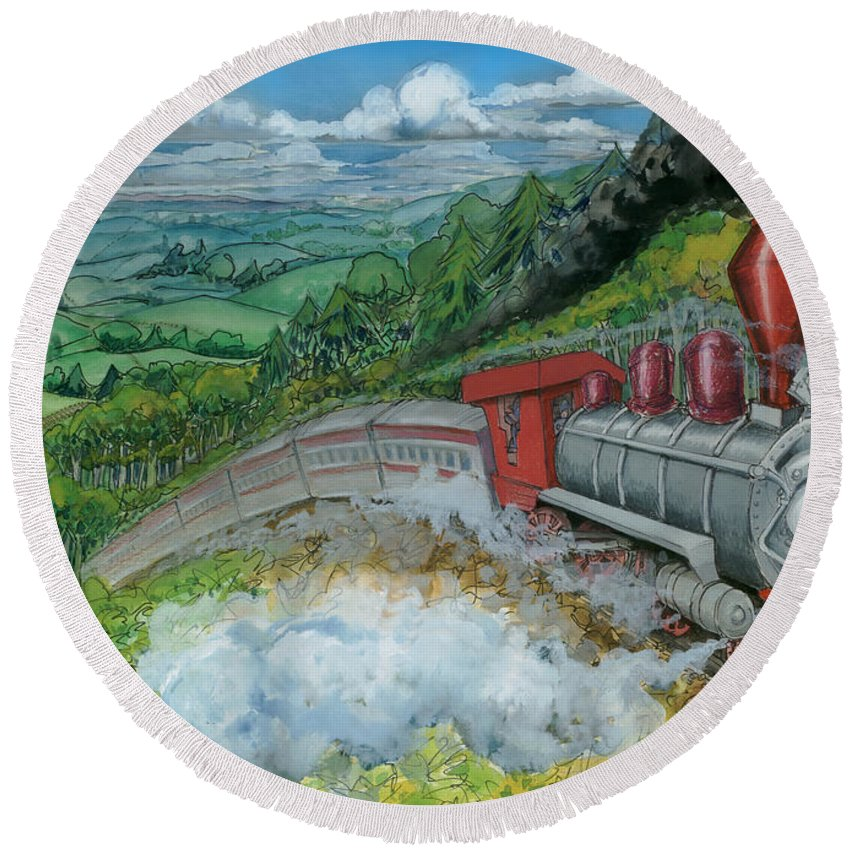 Train Round Beach Towel featuring the painting Steam Train by Kevin Middleton