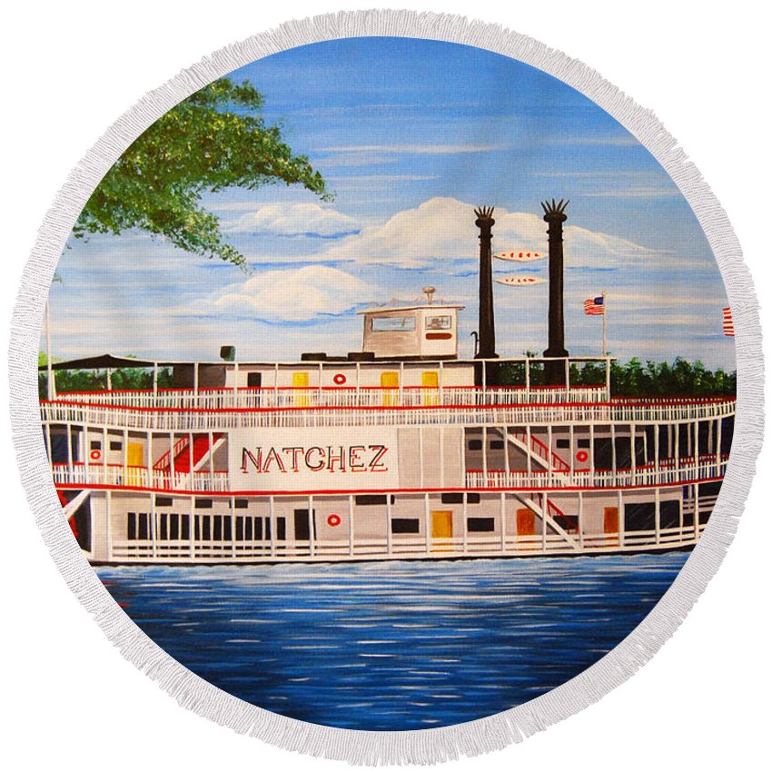 New Orleans Round Beach Towel featuring the painting Steamboat On The Mississippi by Valerie Carpenter