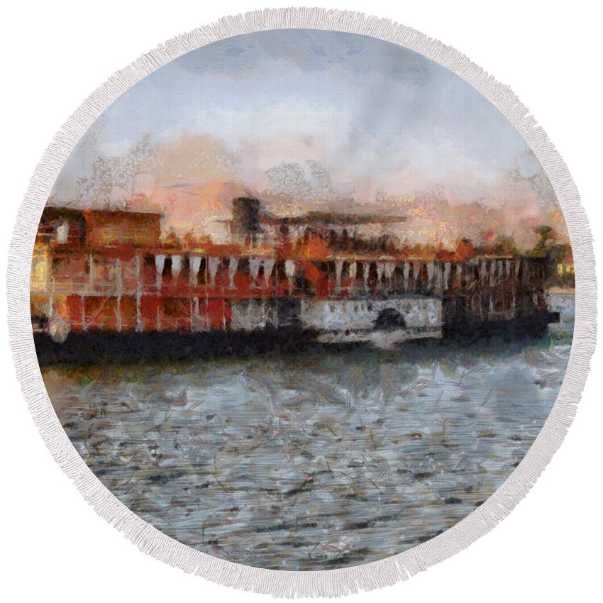 Africa Round Beach Towel featuring the digital art Steamboat On The Nile by Sophie McAulay