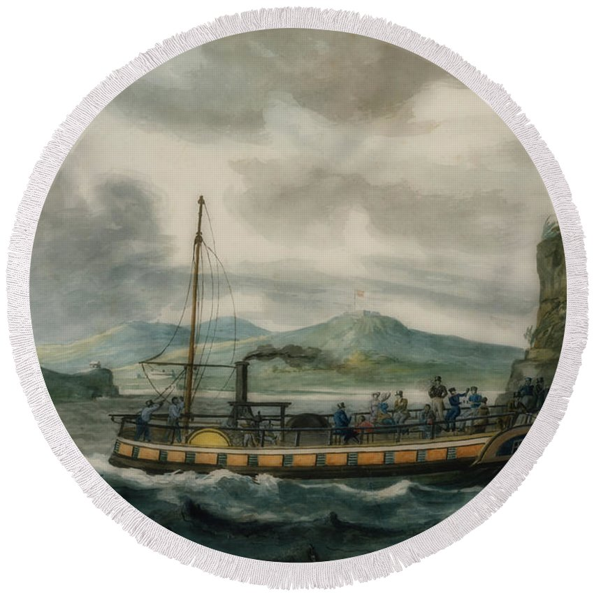 Painting Round Beach Towel featuring the painting Steamboat Travel On The Hudson River by Pavel Svinin