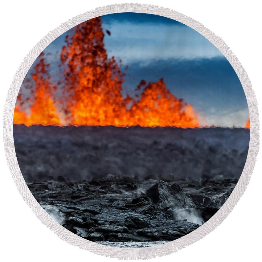 Photography Round Beach Towel featuring the photograph Steaming Lava And Plumes by Panoramic Images