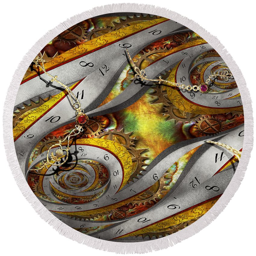 Steampunk Round Beach Towel featuring the photograph Steampunk - Spiral - Space Time Continuum by Mike Savad