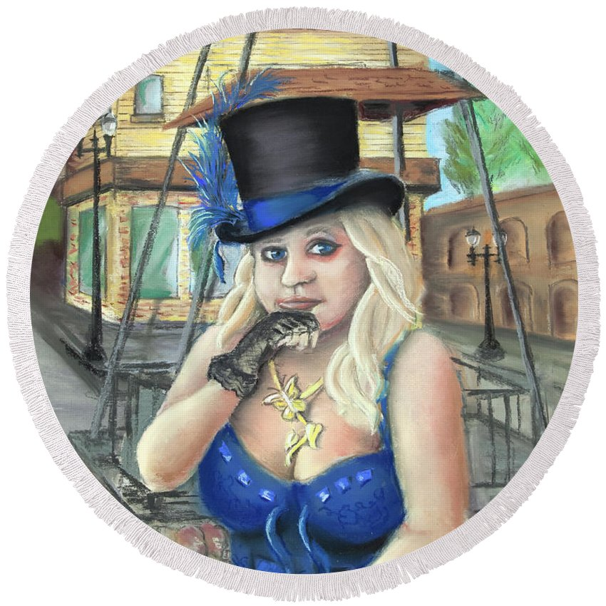 Steampunk Round Beach Towel featuring the painting Steampunk Becky by Steve Ellenburg