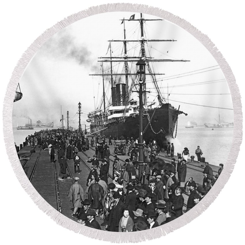 1910 Round Beach Towel featuring the photograph Steamship In Japan by Underwood Archives