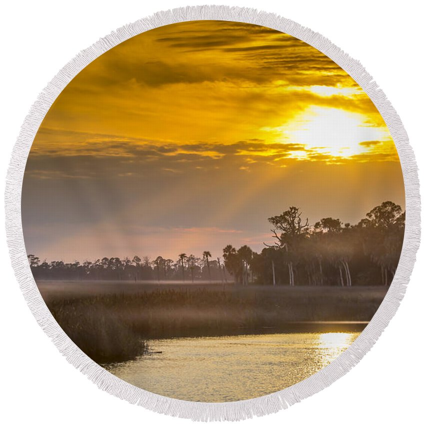 Tranquil Round Beach Towel featuring the photograph Steamy Hammock by Marvin Spates