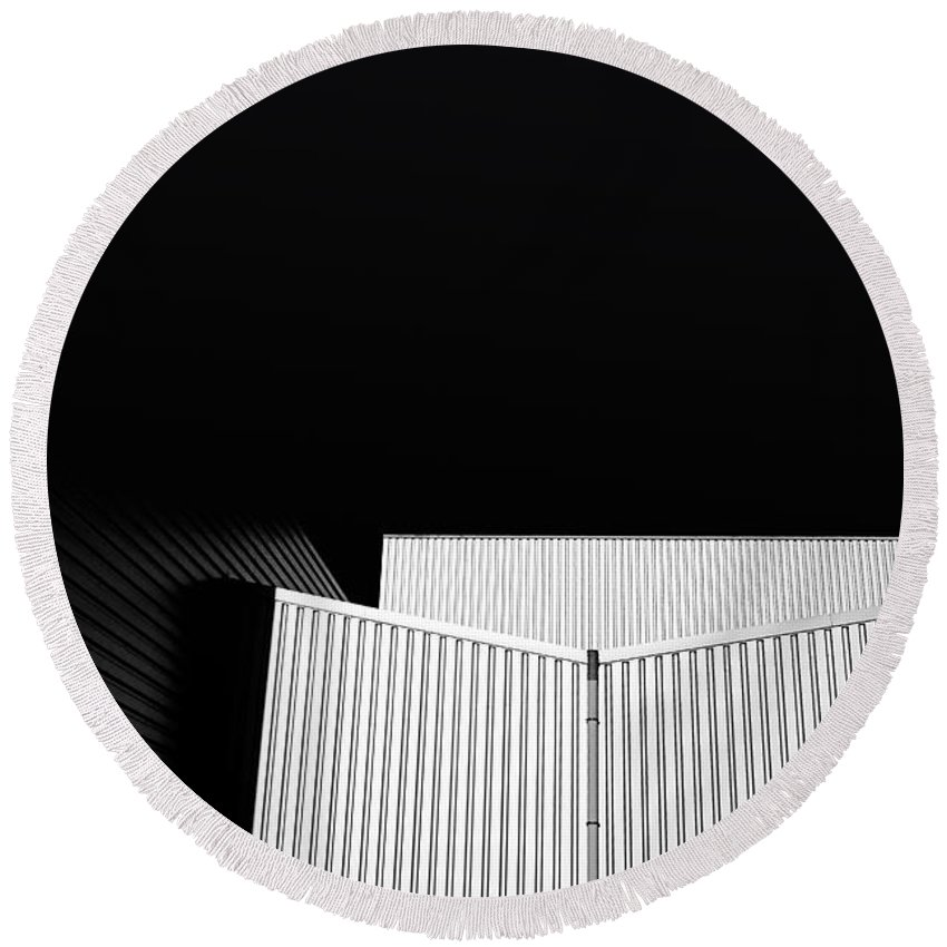 Black Round Beach Towel featuring the photograph Steel Building by Jan Brons