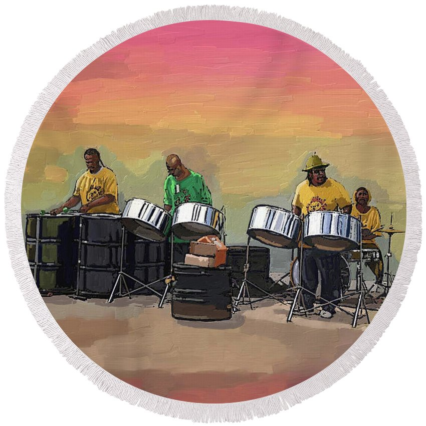 Landscape Round Beach Towel featuring the painting Steel Pan Players Antigua by James Mingo
