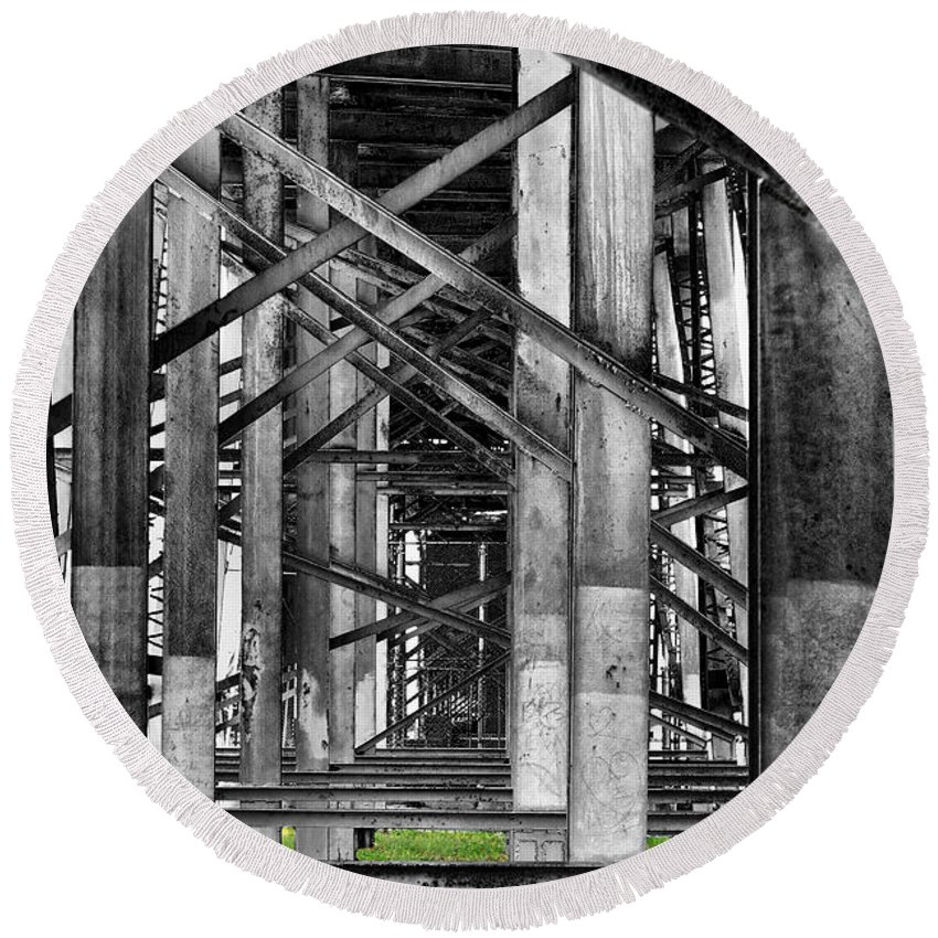 Steel Round Beach Towel featuring the photograph Steel Support by Rudy Umans