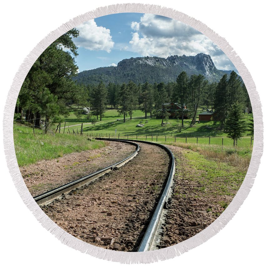 South Round Beach Towel featuring the photograph Steel Tracks In The Black Hills by Cary Leppert