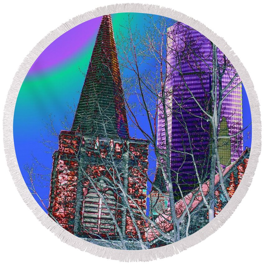 Seattle Round Beach Towel featuring the digital art Steeple And Columbia by Tim Allen