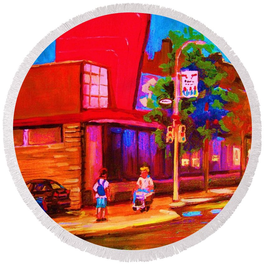 Steinbergs Round Beach Towel featuring the painting Steinbergs Supermarket by Carole Spandau