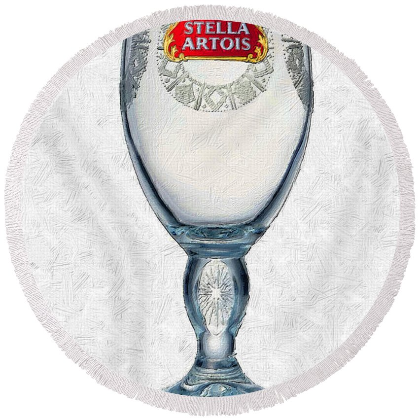 Stella Artois Round Beach Towel featuring the painting Stella Artois Chalice Painting Collectable by Tony Rubino