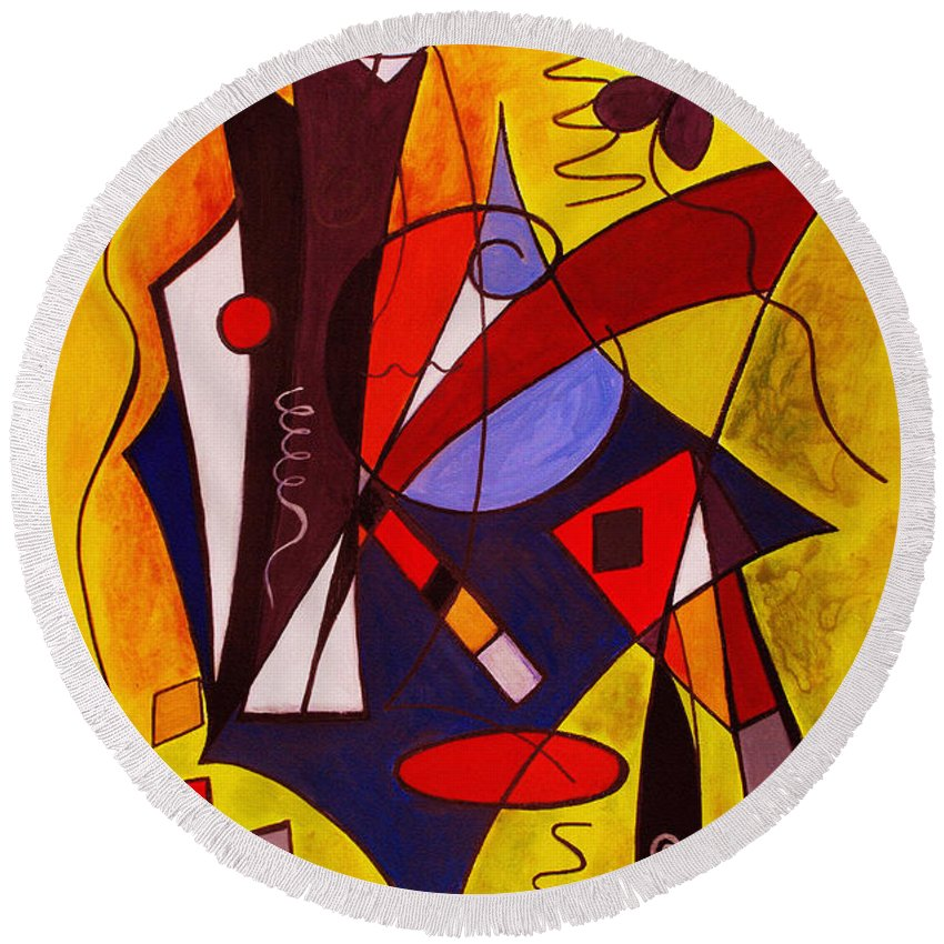 Abstract Round Beach Towel featuring the painting Step Lively Now by Ruth Palmer