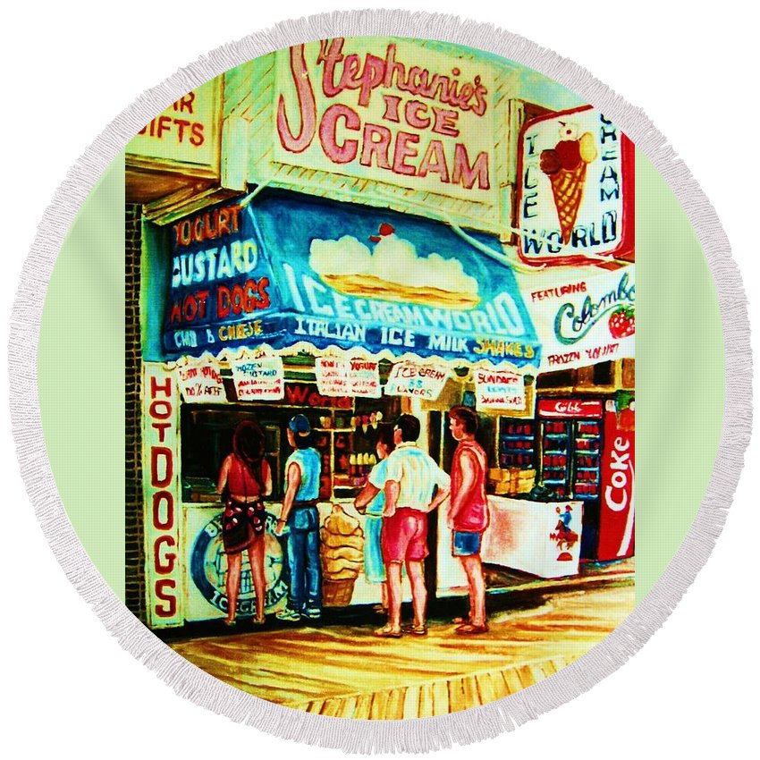 Children Round Beach Towel featuring the painting Stephanies Icecream Stand by Carole Spandau