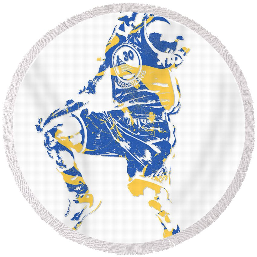 Stephen Curry Round Beach Towel featuring the mixed media Stephen Curry Golden State Warriors Pixel Art 23 by Joe Hamilton