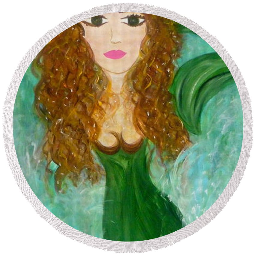 Whimsical Mermaid Round Beach Towel featuring the painting Stephie Splash by Sara Credito