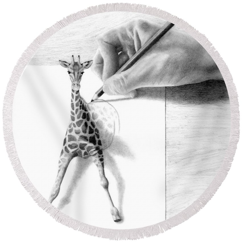 Giraffe Round Beach Towel featuring the drawing Stepping Out by Selinda Van Horn
