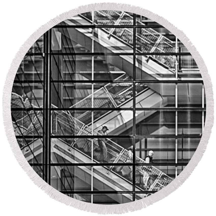 Stairs Round Beach Towel featuring the photograph Stepping Panes by Scott Wyatt