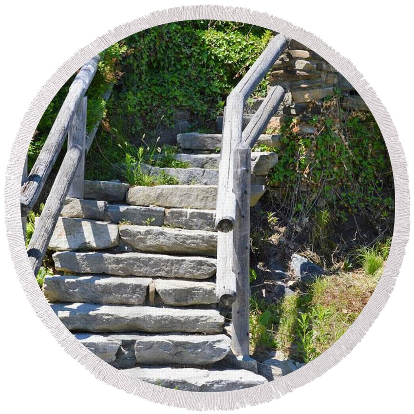 Stairs Round Beach Towel featuring the photograph Stepping Up by Charles HALL