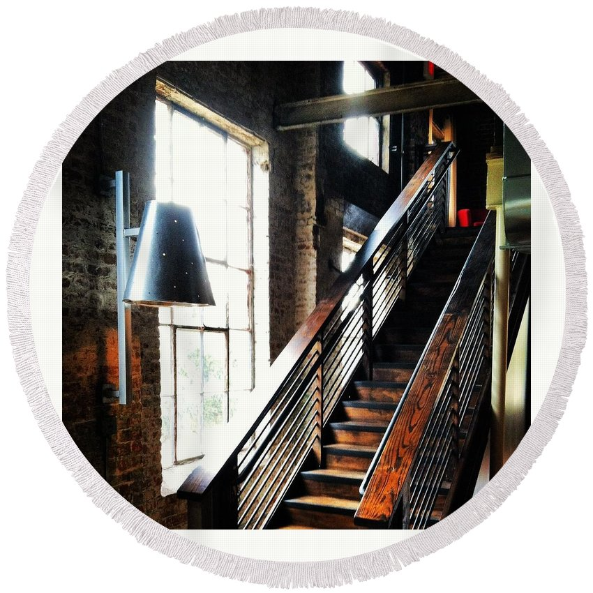 Warehouse Round Beach Towel featuring the photograph Steps by Artie Rawls
