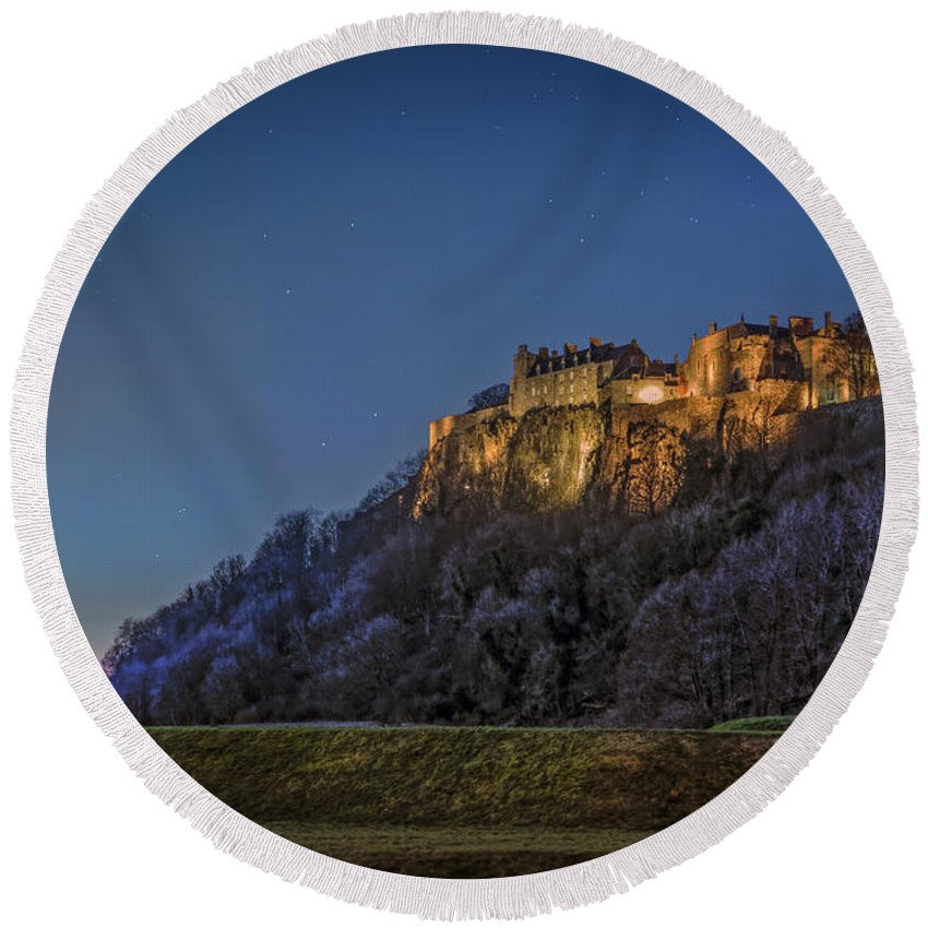 Stirling Round Beach Towel featuring the photograph Stirling Castle Scotland At Night by Mal Bray