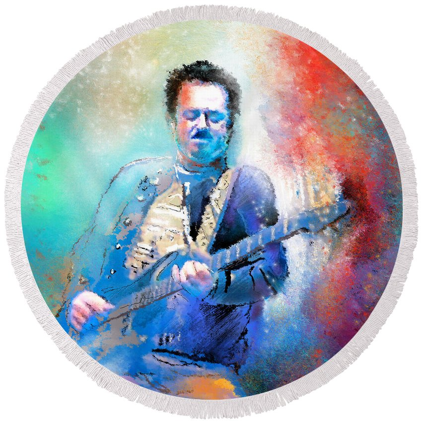 Music Round Beach Towel featuring the painting Steve Lukather 01 by Miki De Goodaboom