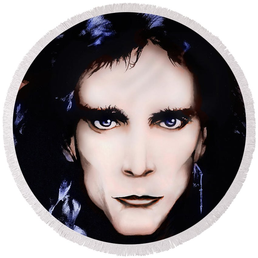 Steve Vai Round Beach Towel featuring the painting Steve Vai by Curtiss Shaffer