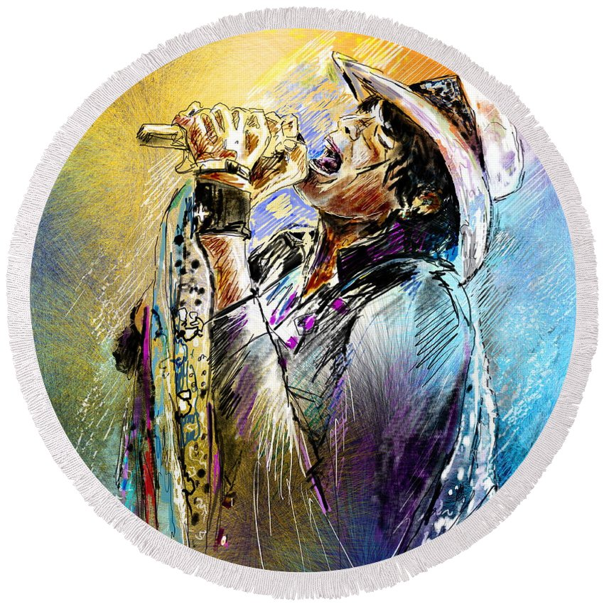 Portraits Round Beach Towel featuring the painting Steven Tyler 01 Aerosmith by Miki De Goodaboom