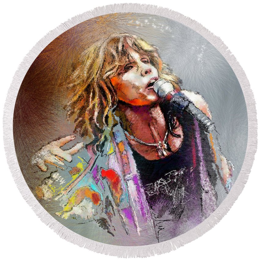 Musicians Round Beach Towel featuring the painting Steven Tyler 02 Aerosmith by Miki De Goodaboom