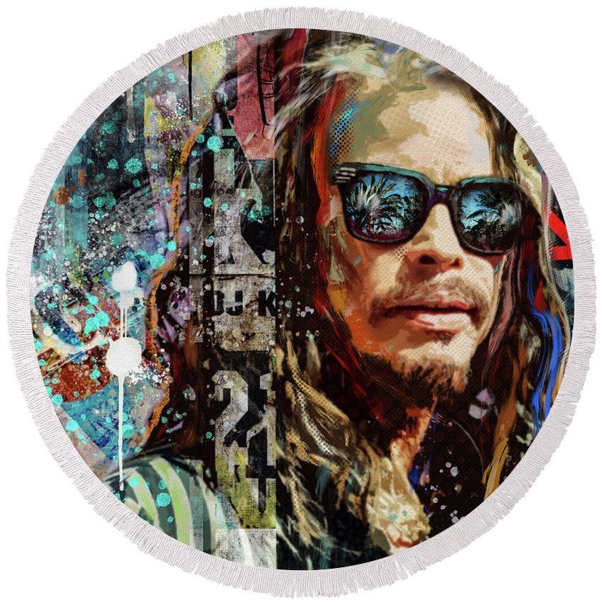 Rockstar Round Beach Towel featuring the digital art Steven Tyler Tribute by Sarah Rasul