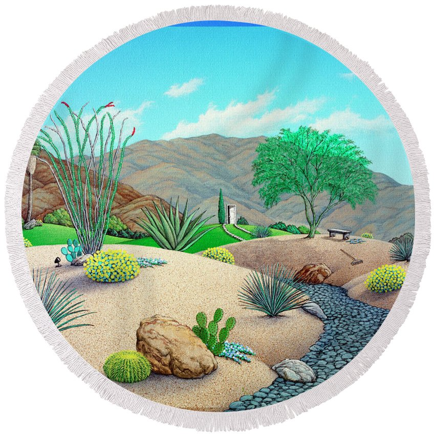Landscape Round Beach Towel featuring the painting Steve's Yard by Snake Jagger