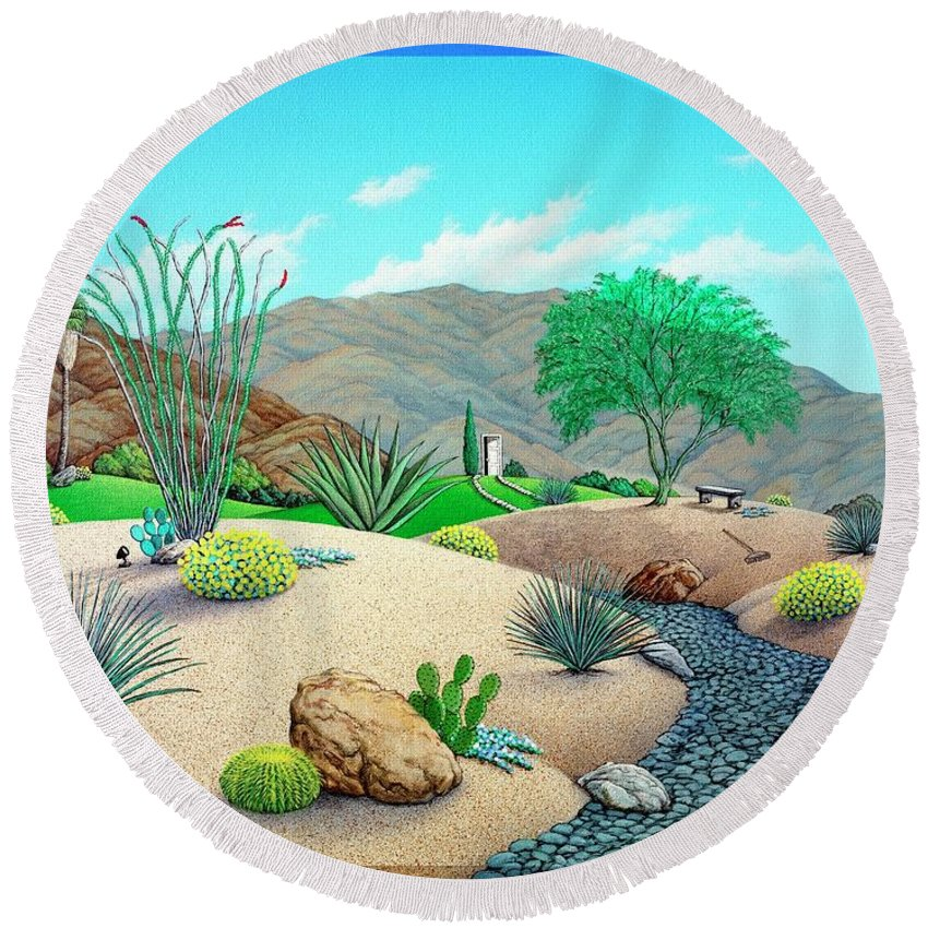 Desert Round Beach Towel featuring the painting Steves Yard by Snake Jagger