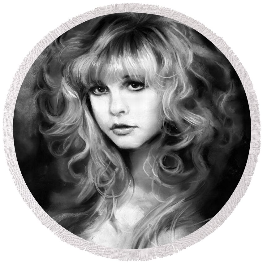 Stevie Nicks Round Beach Towel featuring the drawing Stevie Nicks by Ylli Haruni
