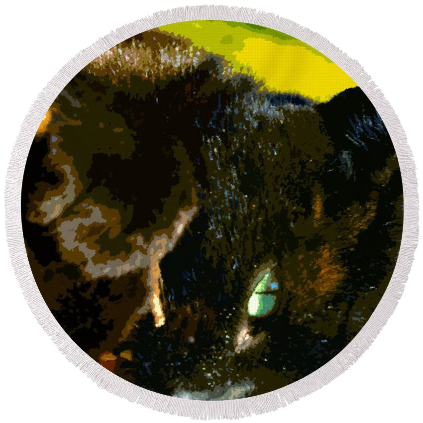 Cat Round Beach Towel featuring the painting Stick Play by David Lee Thompson