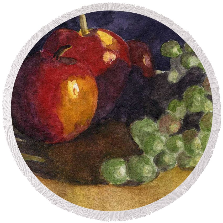 Watercolor Round Beach Towel featuring the painting Still Apples by Lynne Reichhart