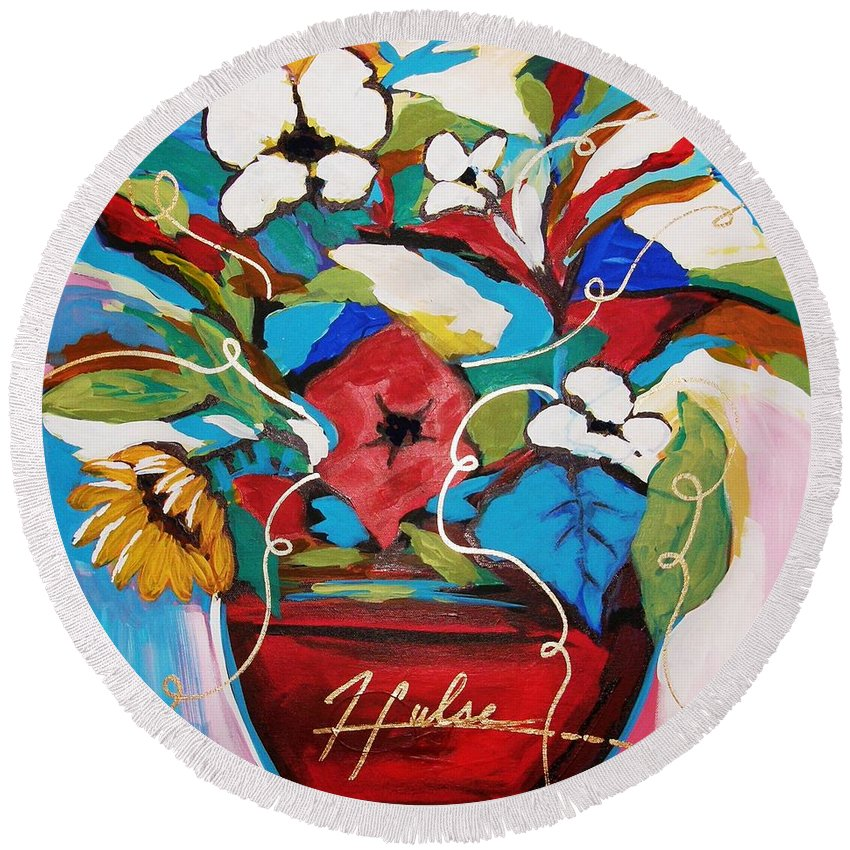 Floral Round Beach Towel featuring the painting Still Dreaming Of Tuscany by Gina Hulse