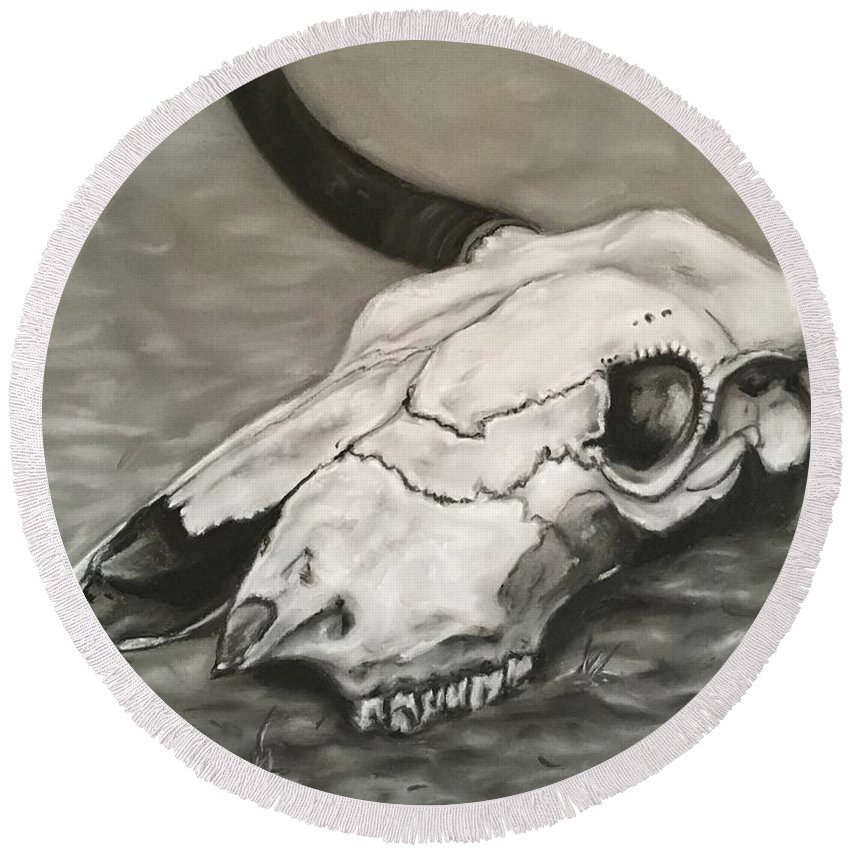Skull Cow Bull Steer Round Beach Towel featuring the drawing Still Life by Angie Owen