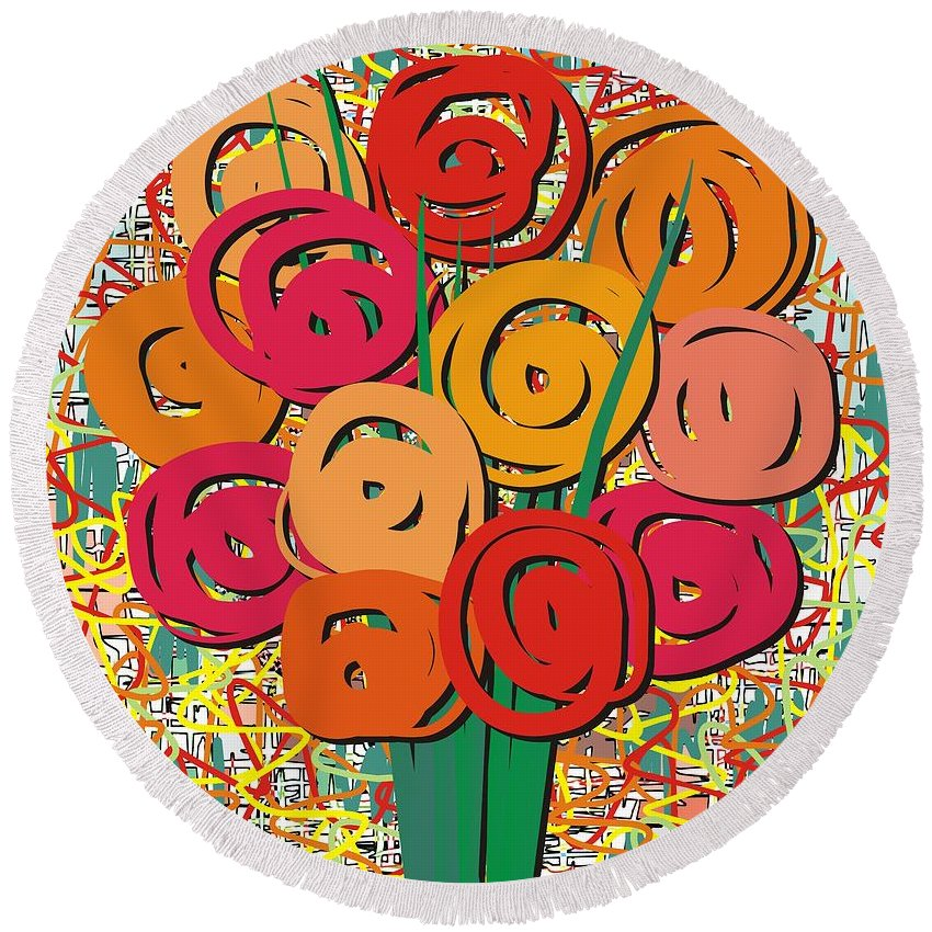 Abstract Round Beach Towel featuring the painting Still Life Bringing Happiness by Michael Mirijan