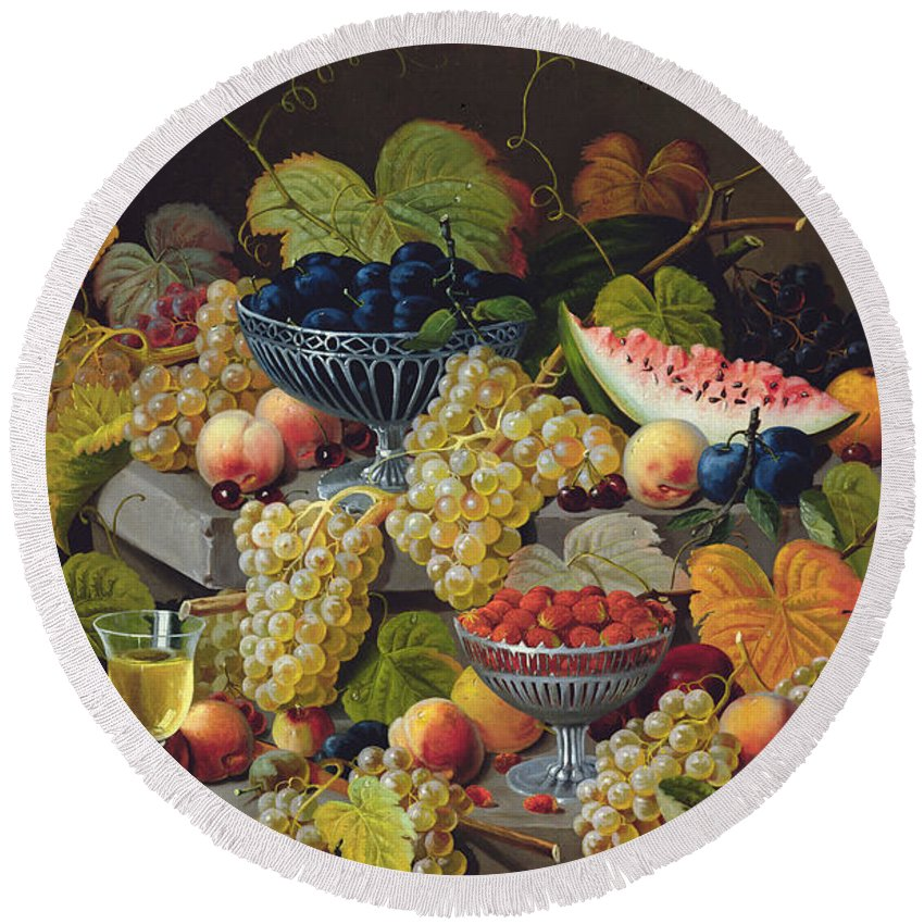 Fruit Round Beach Towel featuring the painting Still Life Of Melon Plums Grapes Cherries Strawberries On Stone Ledge by Severin Roesen