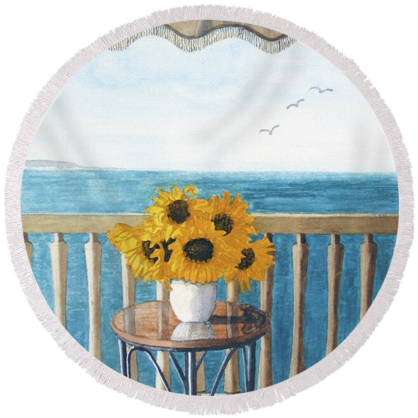 Still Life Round Beach Towel featuring the painting Still Life On A Patio by Barry Levy