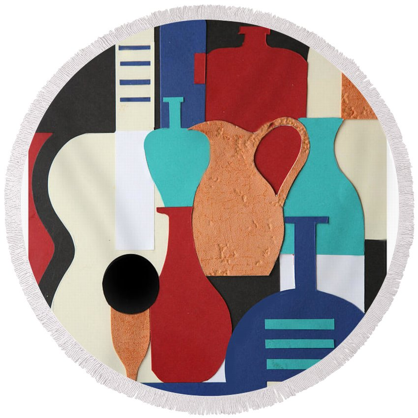 Still Life Round Beach Towel featuring the mixed media Still Life Paper Collage Of Wine Glasses Bottles And Musical Instruments by Mal Bray