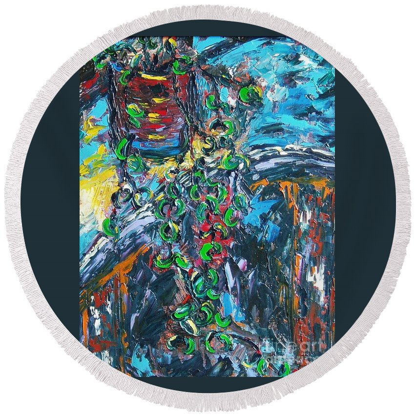 Sjkim Art Round Beach Towel featuring the painting Abstract Still Life by Seon-Jeong Kim