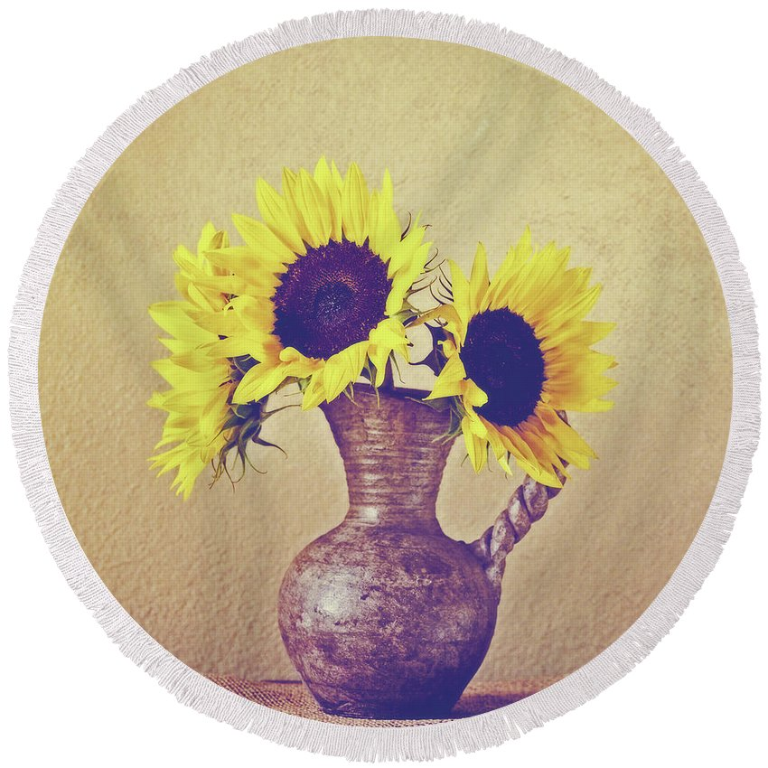 Square Round Beach Towel featuring the photograph Still Life Sunflowers - Square by Scott Pellegrin