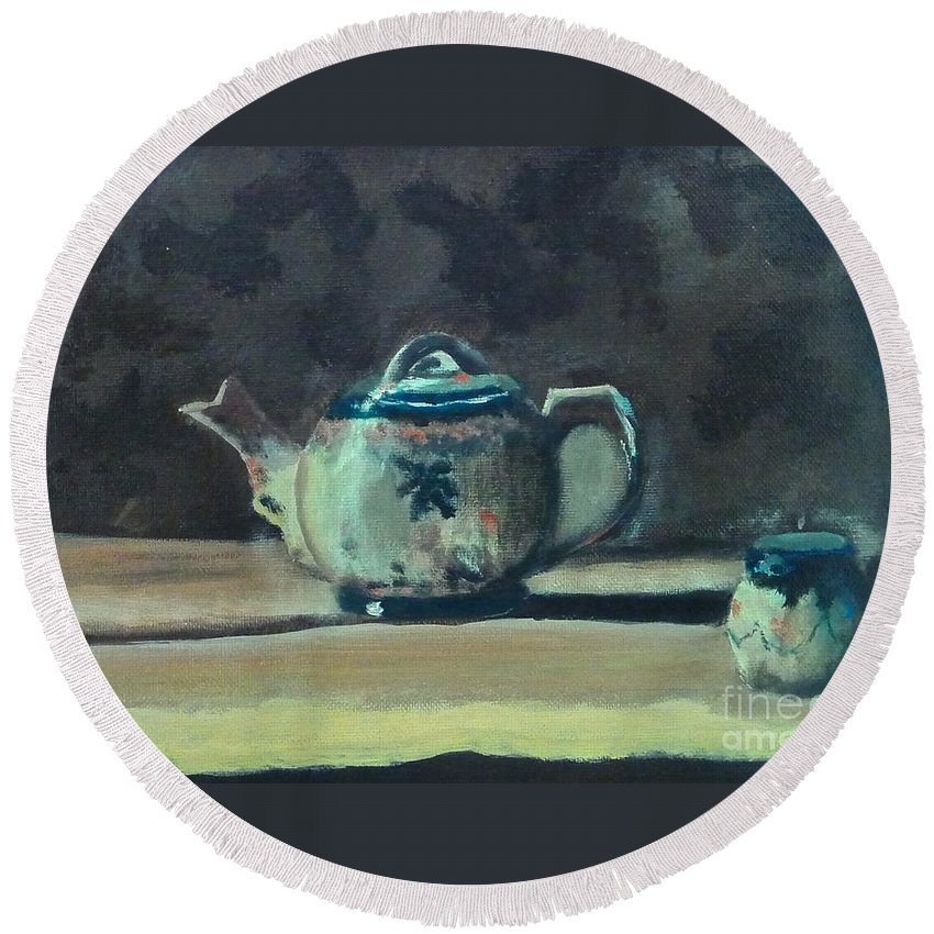 Ceramic Round Beach Towel featuring the painting Still Life Teapot And Sugar Bowl by Barrie Stark