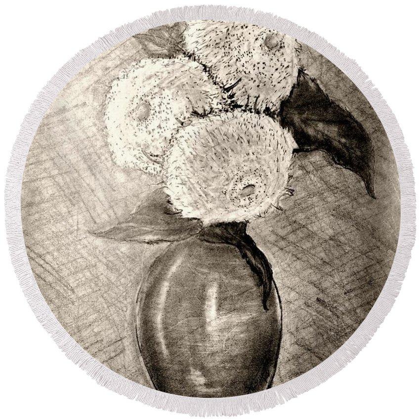 Still Life Vase With Three Teddy Bear Sunflowers Round Beach Towel