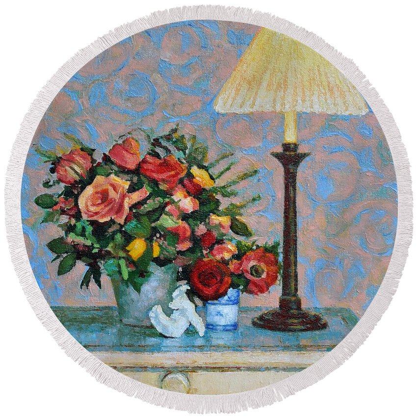 Flowers Round Beach Towel featuring the painting Still life with a Lamp by Iliyan Bozhanov