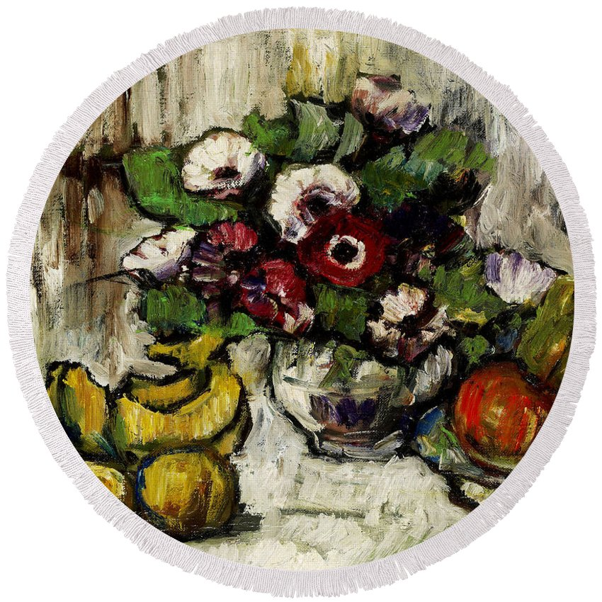 George Leslie Hunter Round Beach Towel featuring the painting Still Life With Anemones And Fruit by George Leslie Hunter