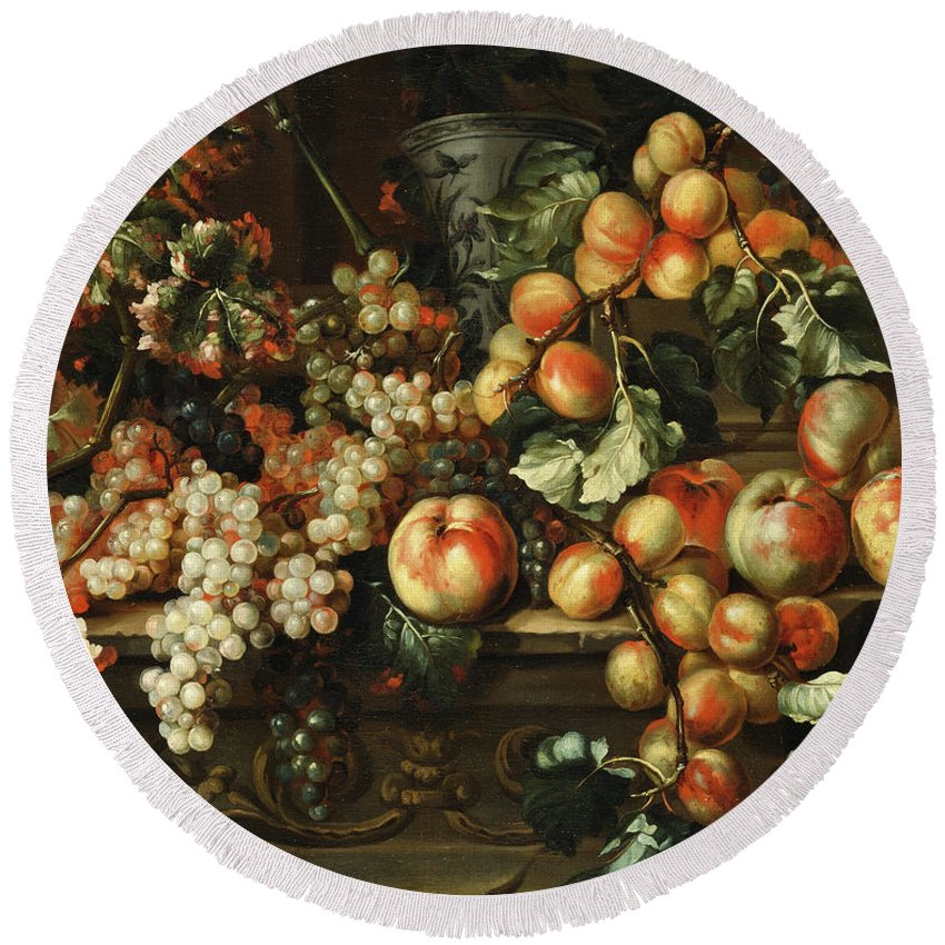 Apples And Grapes Round Beach Towel featuring the painting Still Life With Apples And Grapes by Michelangelo di Campidoglio